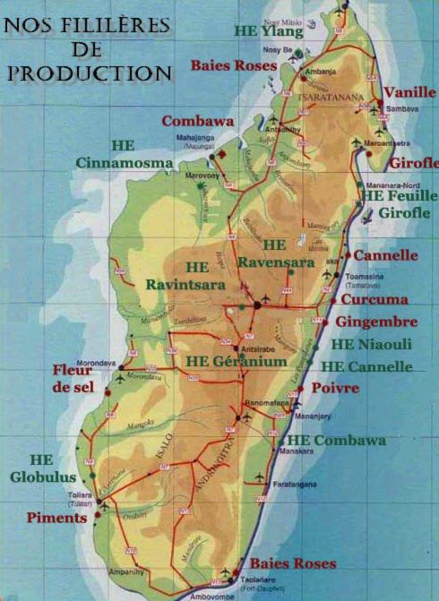 Carte production grossiste d'épices Madagascar